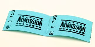 Two admission tickets. For cinema or other event stock image