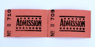 Two admission tickets. For cinema or other event stock photos