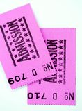 Two admission tickets. For cinema or other event Stock Photography