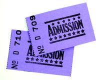 Two admission tickets. For cinema or other event royalty free stock photo