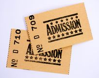 Two admission tickets. For cinema or other event royalty free stock photos
