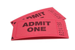 Two Admit One Tickets. Isolated on White royalty free stock images