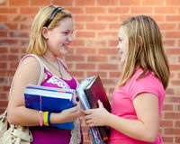 Two adolescent girls talking outside school. Two adolescent or teen girls talking outside school during fall royalty free stock photo