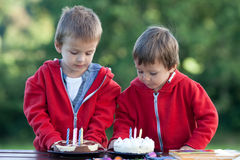 Two adorable boys with cakes, outdoor, celebrating birthday Stock Photo