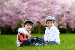 Two adorable caucasian boys in a blooming cherry tree garden, pl Royalty Free Stock Images