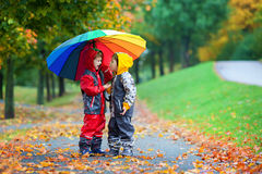 Two adorable children, boy brothers, playing in park with umbrel Stock Photo