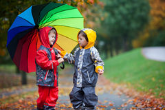 Two adorable children, boy brothers, playing in park with umbrel Stock Photography