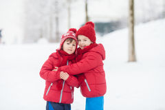 Two adorable children, boy brothers, playing in a snowy park, ho Royalty Free Stock Photography