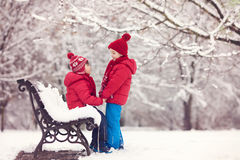 Two adorable children, boy brothers, playing in a snowy park, ho Stock Photos