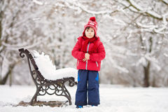 Two adorable children, boy brothers, playing in a snowy park, ho Stock Photo