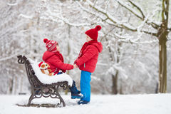Two adorable children, boy brothers, playing in a snowy park, ho Stock Images