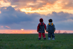 Two adorable children, boy brothers, watching beautiful splendid Stock Photo