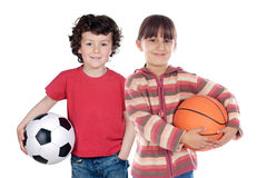 Free Two Adorable Children With Balls Stock Images - 9748214