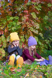 Two adorable girls in forest at warm sunny autumn Royalty Free Stock Images