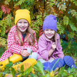 Two adorable girls in forest at warm sunny autumn Stock Photo
