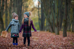 Two adorable girls in forest at warm sunny autumn day Royalty Free Stock Photos