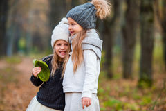 Two adorable girls in forest at warm sunny autumn day Stock Photography