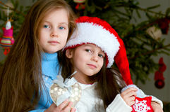 Two adorable girls in front of christmas tree Royalty Free Stock Images