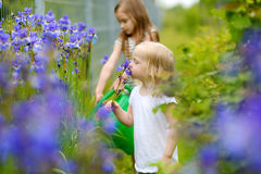 Two adorable girls watering plants and flowers Royalty Free Stock Photo
