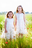 Two adorable girls in white dresses standing in the meadow Stock Images