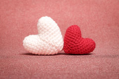 Two adorable handmade heart crochet. Stock Image