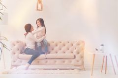 Two adorable ladies talking to each other royalty free stock photography
