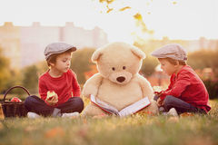 Two adorable little boys with his teddy bear friend in the park Stock Photography