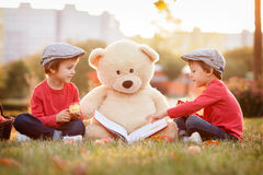 Two adorable little boys with his teddy bear friend in the park Stock Photos