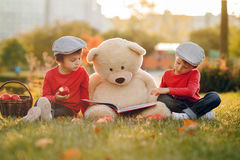 Two adorable little boys with his teddy bear friend in the park Stock Images