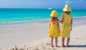 Two adorable little girls on caribbean vacation Stock Photos