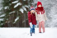 Two adorable little girls having fun together in beautiful winter park. Beautiful sisters playing in a snow. Stock Photo
