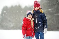 Two adorable little girls having fun together in beautiful winter park. Beautiful sisters playing in a snow. stock image