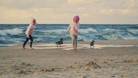 Two adorable little girls are running and feeding ducks on a sandy beach
