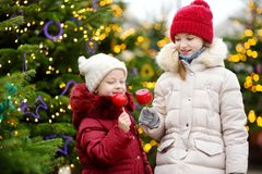 Two adorable little sisters eating red apples covered with sugar icing on traditional Christmas market Royalty Free Stock Photos