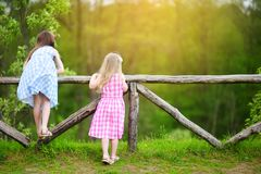 Two adorable little sisters having fun on sunny summer day Stock Photography