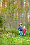 Two adorable little sisters hiking Royalty Free Stock Photography