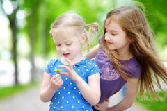 Two adorable little sisters laughing and hugging each other. On warm and sunny summer day Royalty Free Stock Photos