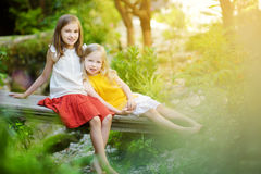Two adorable little sisters laughing and hugging on summer day in a park Royalty Free Stock Photo