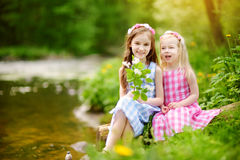Two adorable little sisters playing by a river in sunny park on a beautiful summer day Stock Photography