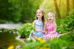 Two adorable little sisters playing by a river in sunny park on a beautiful summer day Royalty Free Stock Image