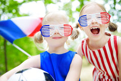 Two adorable little soccer fans cheering Stock Image