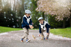 Two adorable preschool children, boy brothers, playing with litt Stock Photography