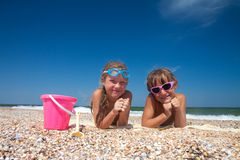 Two adorable toddler girl  on sand beach Royalty Free Stock Photography