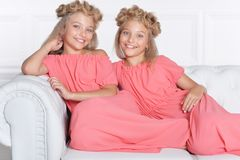 Two adorable twin sisters in beautiful pink dresses. With modern hairstyles posing at home royalty free stock images