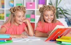 Portrait of two adorable twin sisters doing homework together royalty free stock photography