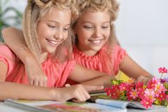Two adorable twin sisters with modern hairstyles. Reading magazine royalty free stock image