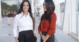 Two Adorable Women Standing at Promenade. In Malaga Pier and looking at camera  they wearing formal business elegant clothes  smiling stock footage