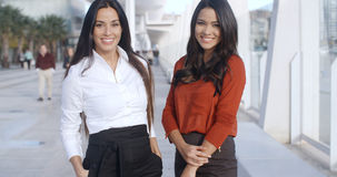 Two Adorable Women Standing at Promenade Royalty Free Stock Image
