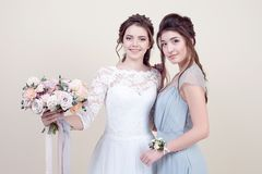 Two adorable women wearing in long fashionable dresses Royalty Free Stock Images