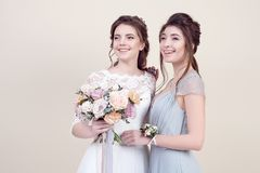 Two adorable women wearing in long fashionable dresses Royalty Free Stock Photo